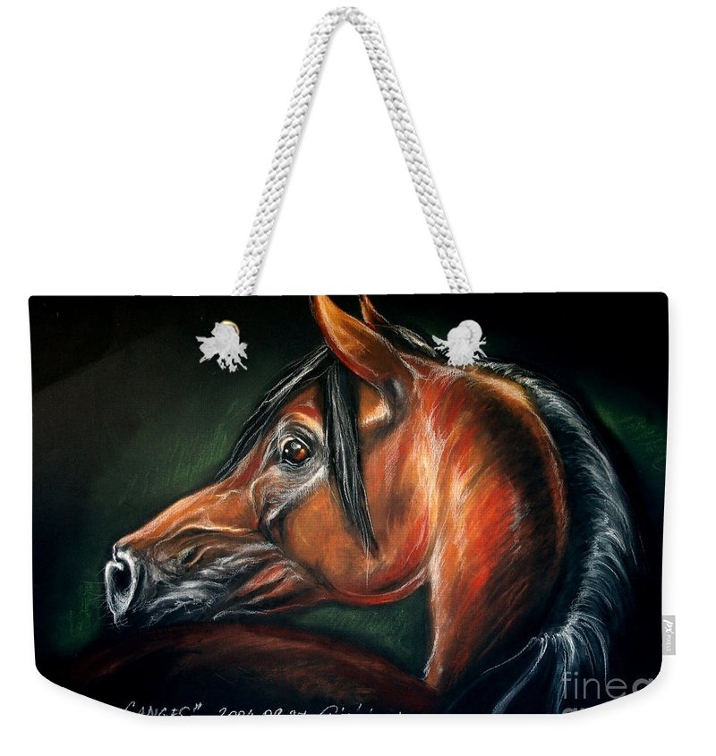 Horse Weekender Tote Bag featuring the drawing Ganges by Angel Ciesniarska