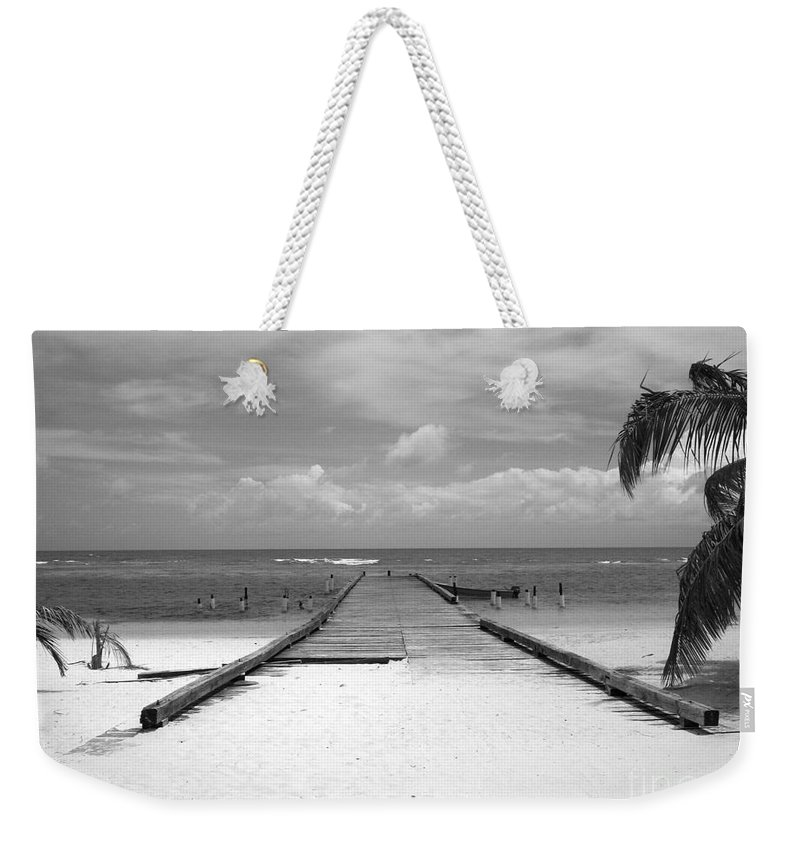 Palm Weekender Tote Bag featuring the photograph Gangplank Of Perfection Black And White by Heather Kirk