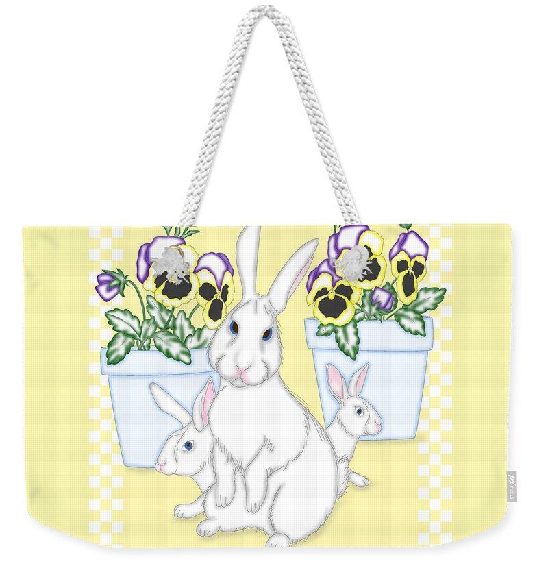 Bunny Weekender Tote Bag featuring the digital art Garden Bunnies by Alison Stein