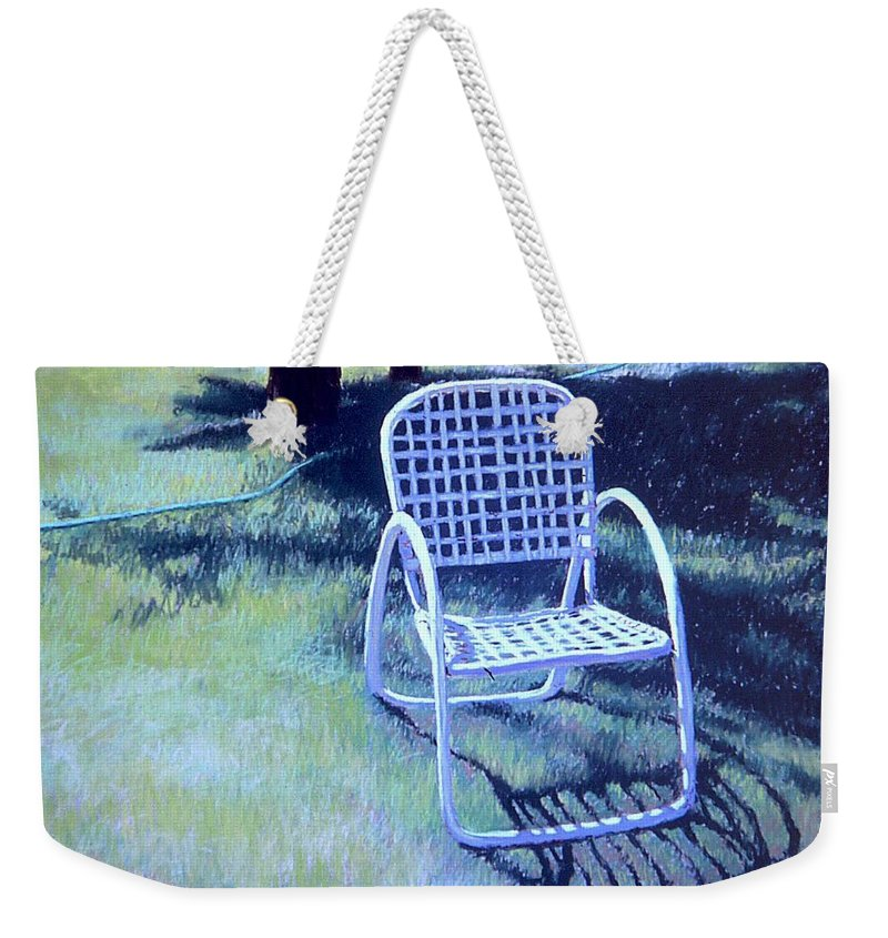Pastel Weekender Tote Bag featuring the painting Garden Chair by Mary McInnis