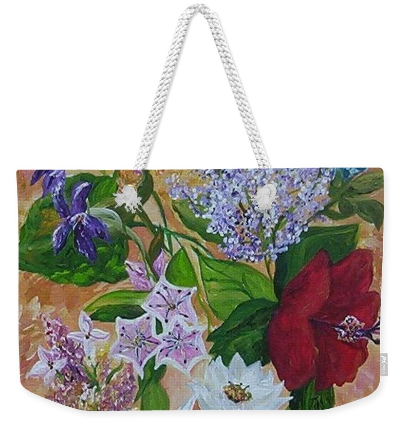Flowers Weekender Tote Bag featuring the painting Garden Delight by Eloise Schneider Mote