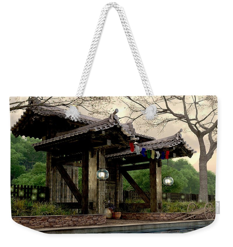 Japanese Garden Weekender Tote Bag featuring the digital art Garden Gate by Cynthia Decker