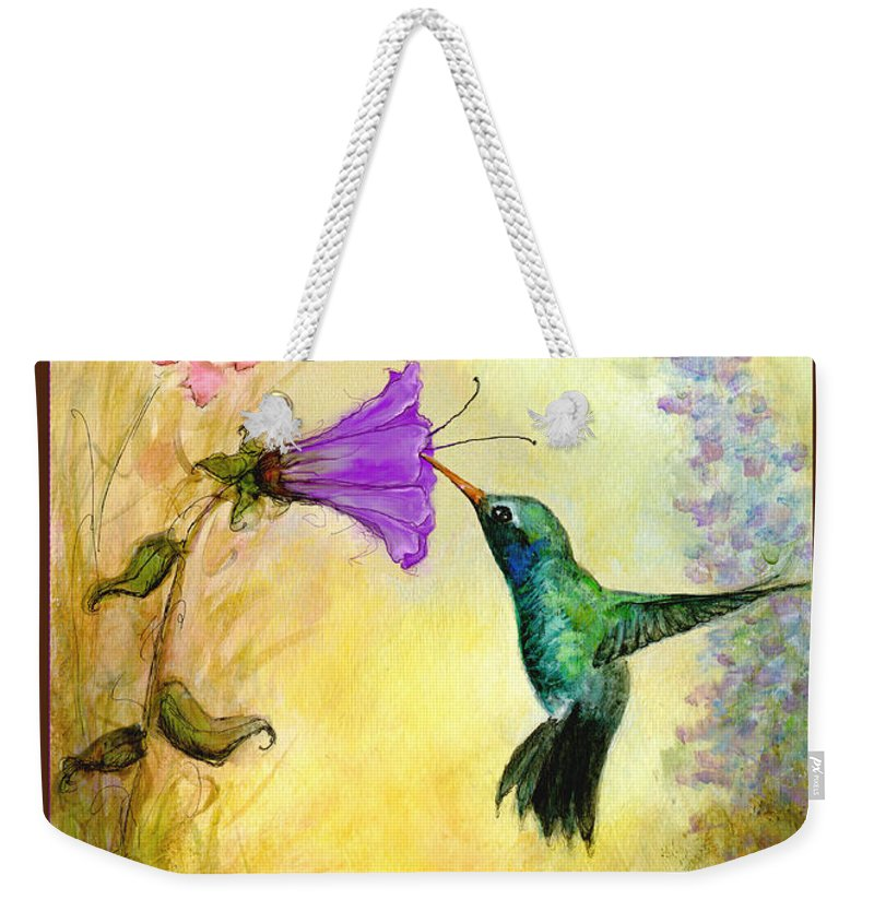 Hummingbird Weekender Tote Bag featuring the mixed media Garden Guest In Brown by Terry Webb Harshman