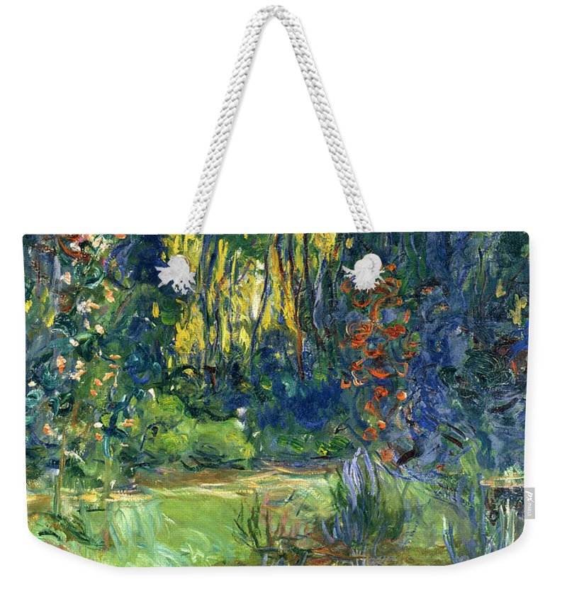 Pond; Impressionist Weekender Tote Bag featuring the painting Garden of Giverny by Claude Monet