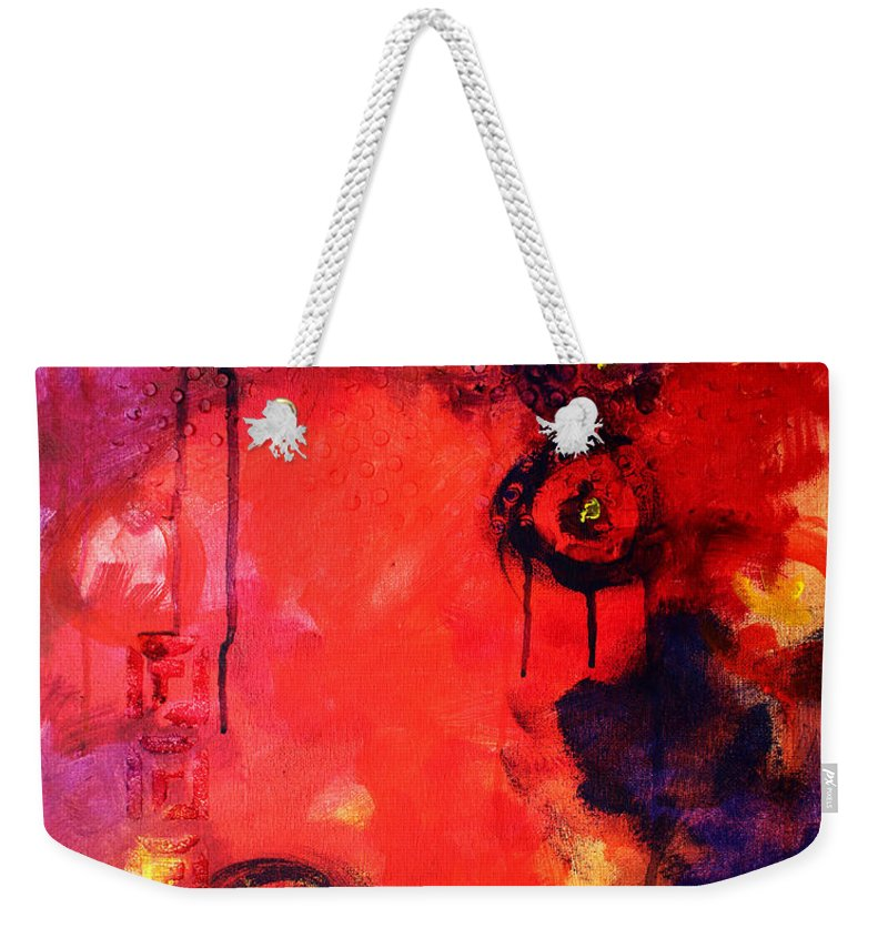 Abstract Weekender Tote Bag featuring the painting Garden Of Good And Evil by Nancy Merkle