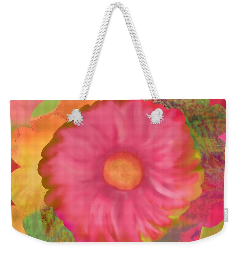 Abstract Weekender Tote Bag featuring the digital art Garden Party II by Christine Fournier