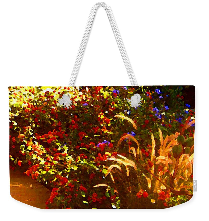 Weekender Tote Bag featuring the painting Garden Pathway by Amy Vangsgard