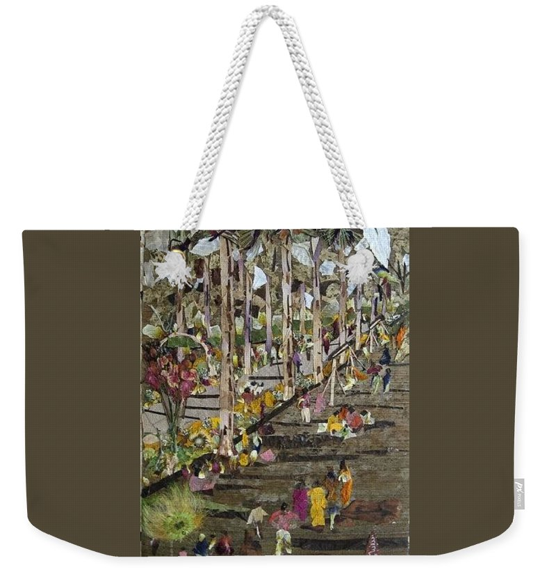 Garden Morning View Weekender Tote Bag featuring the mixed media Garden Picnic by Basant Soni