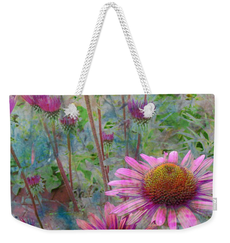 Flowers Weekender Tote Bag featuring the digital art Garden Pink And Abstract Painting by Anita Burgermeister