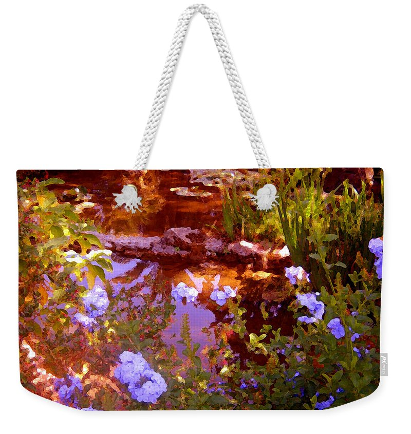 Landscapes Weekender Tote Bag featuring the painting Garden Pond by Amy Vangsgard