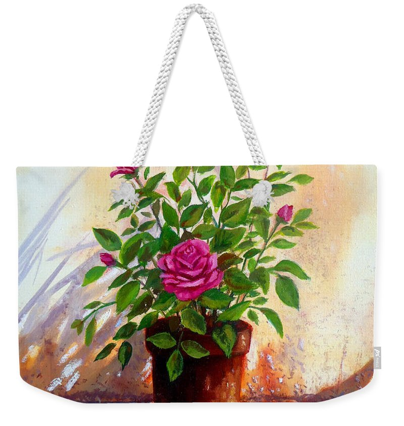 Pink Roses Weekender Tote Bag featuring the painting Garden Roses by Amani Al Hajeri