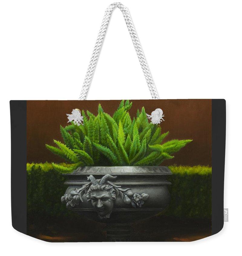 Garden Weekender Tote Bag featuring the painting Garden Satyr by Gary Hernandez