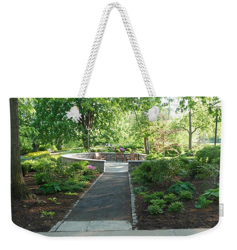 Garden Weekender Tote Bag featuring the photograph Garden Seating by Jon Cody