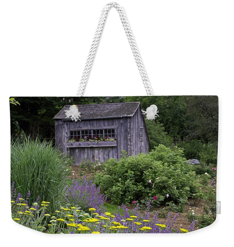 Garden Weekender Tote Bag featuring the photograph Garden Shed by David Freuthal