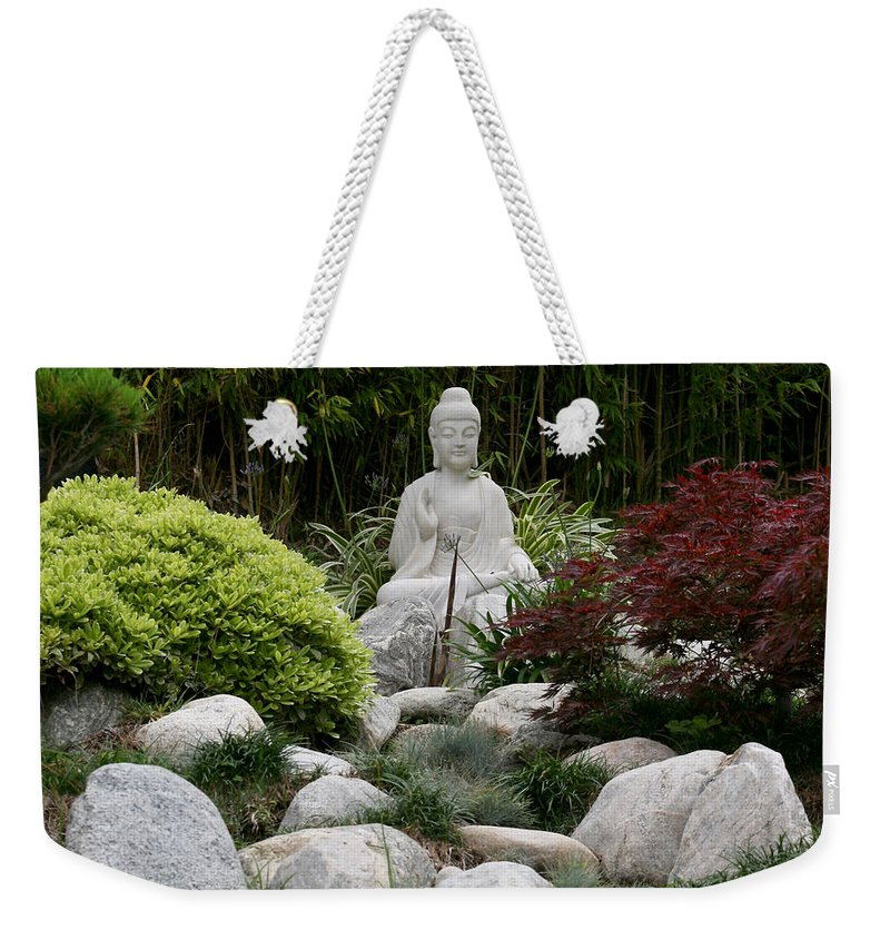 Statue Weekender Tote Bag featuring the photograph Garden Statue by Art Block Collections