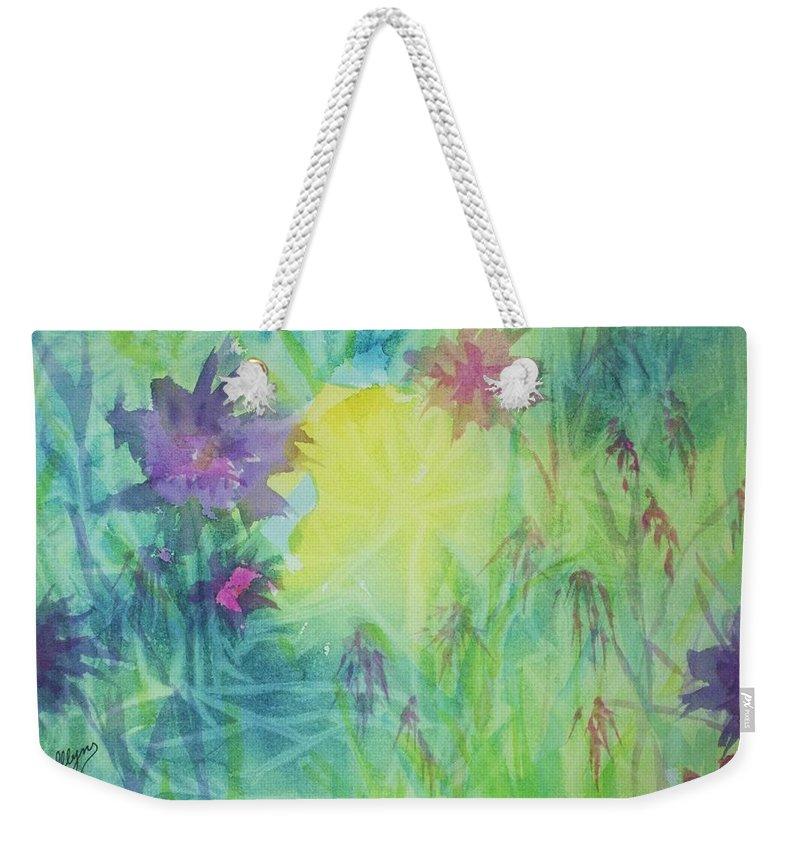 Garden Weekender Tote Bag featuring the painting Garden Vortex by Ellen Levinson