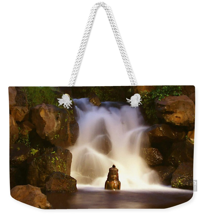 Garden Waterfall Weekender Tote Bag featuring the photograph Garden Waterfall by Ellen Henneke