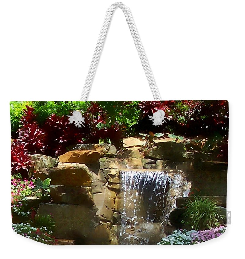 Garden Weekender Tote Bag featuring the photograph Garden Waterfalls by Pharris Art