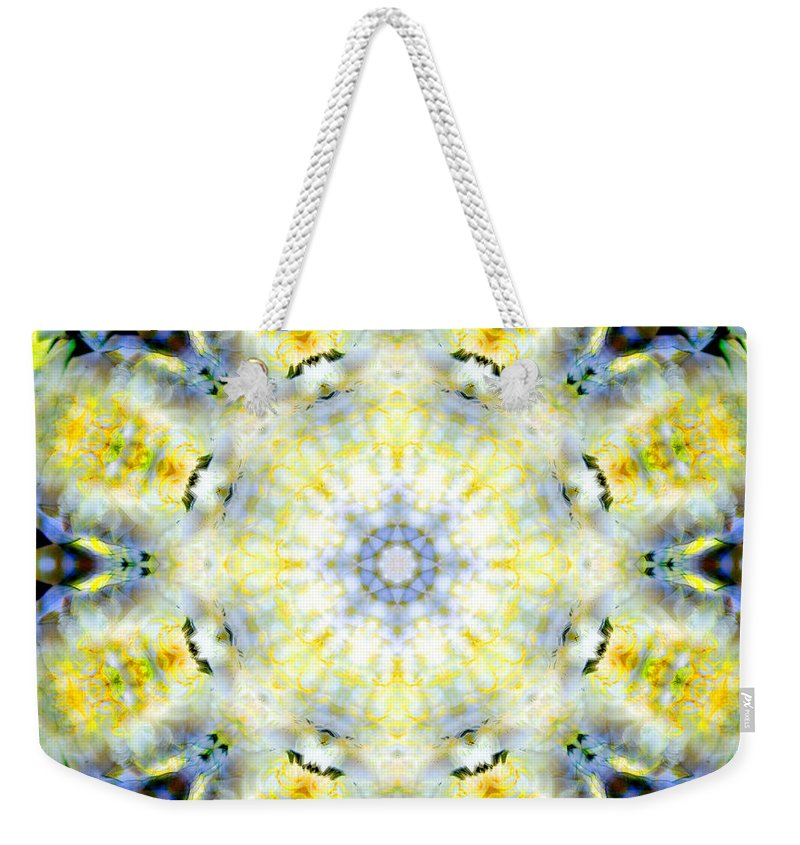 Rainbow Weekender Tote Bag featuring the photograph Gardenia Mandala by Susan Bloom