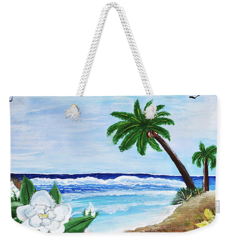 Acrylic Painting Weekender Tote Bag featuring the painting Gardenia by Sherry Allen
