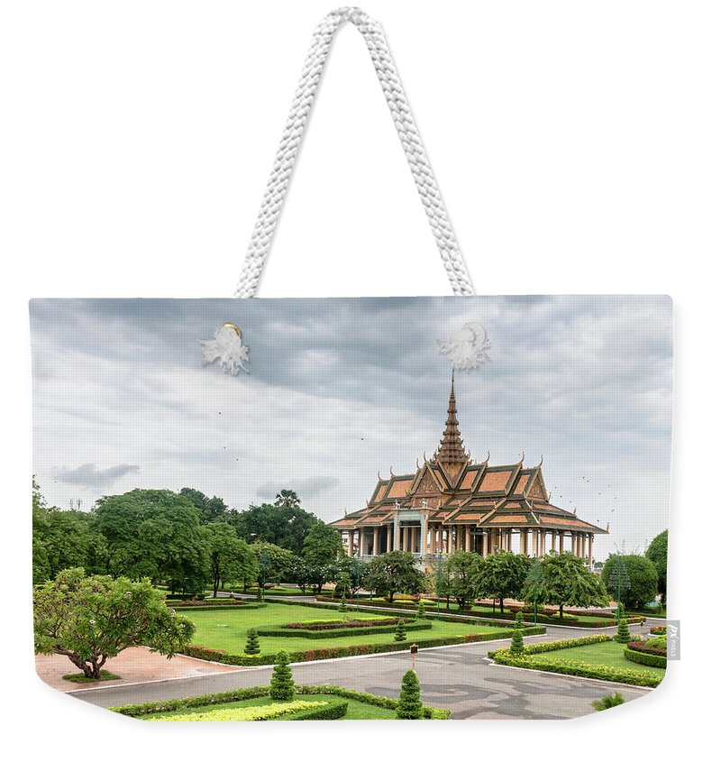 Southeast Asia Weekender Tote Bag featuring the photograph Gardens At The Royal Palace In Phnom by Tbradford