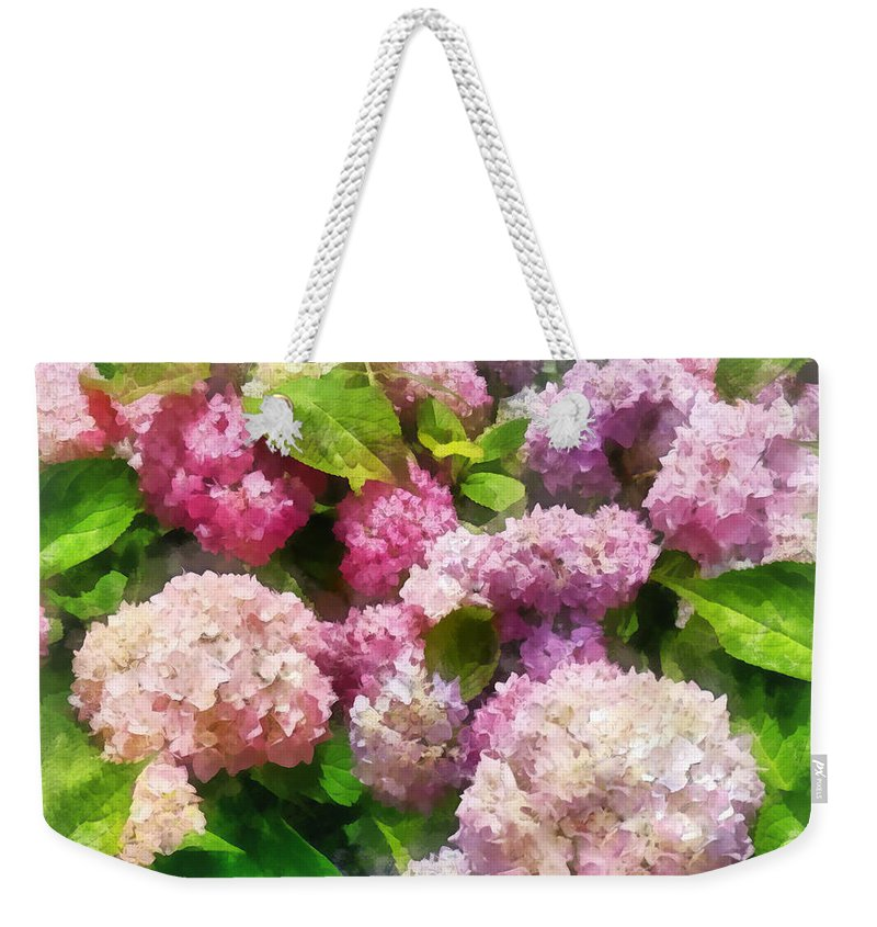 Hydrangea Weekender Tote Bag featuring the photograph Gardens - Pink And Lavender Hydrangea by Susan Savad