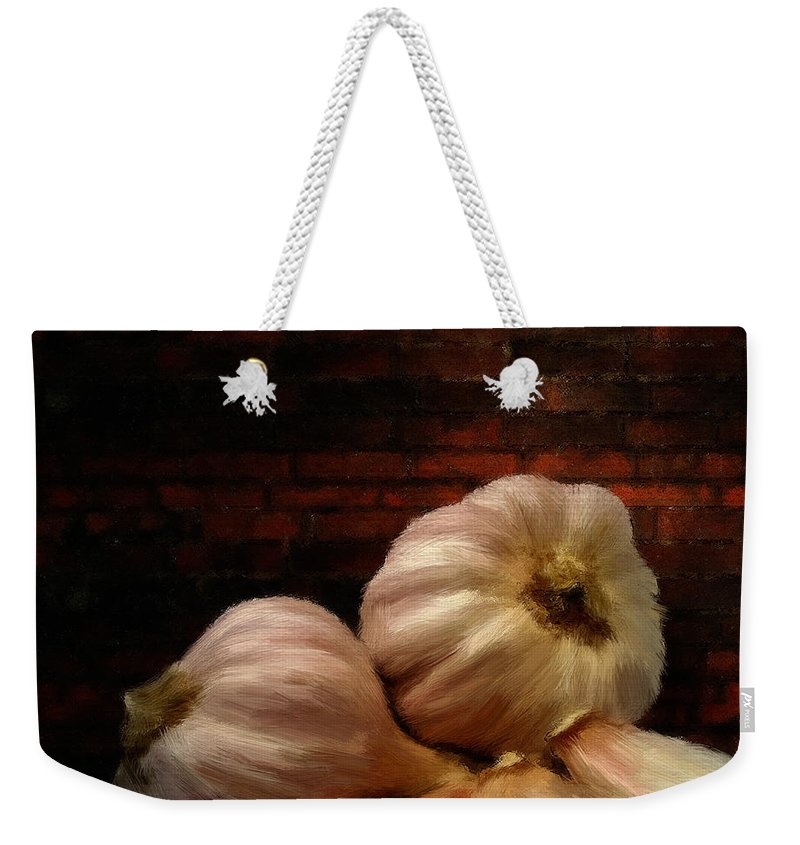 Onion Weekender Tote Bag featuring the digital art Garlic by Lourry Legarde