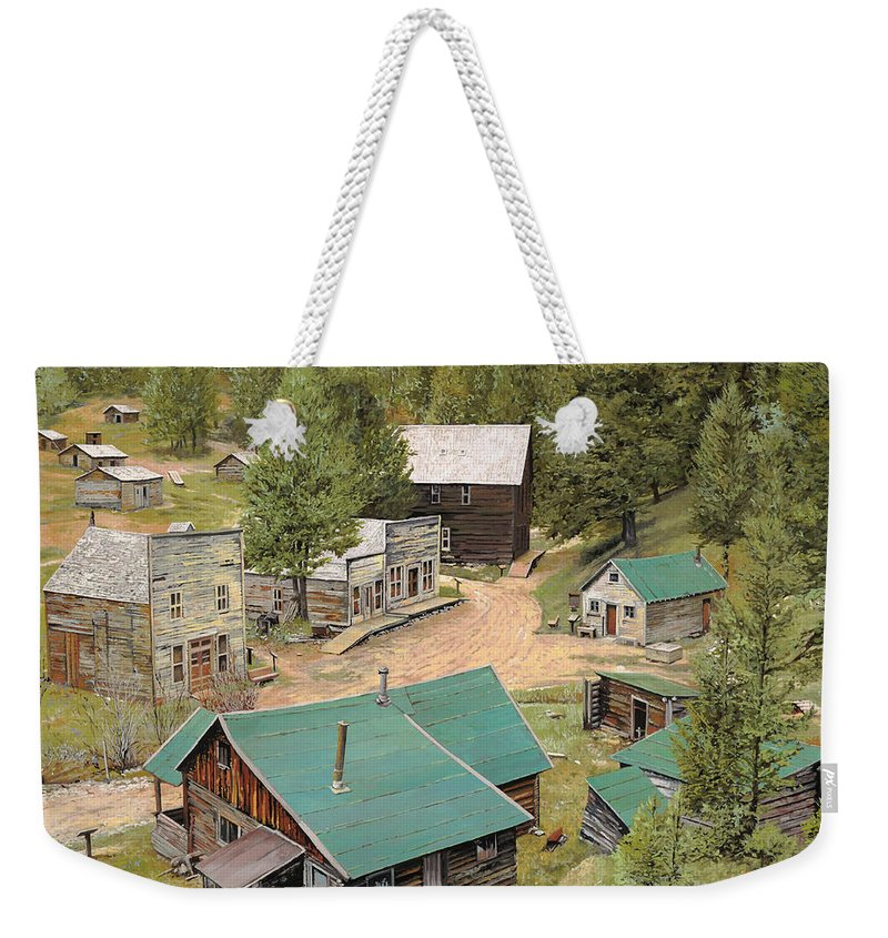 Ghost Town Weekender Tote Bag featuring the painting Garnet In Montana by Guido Borelli
