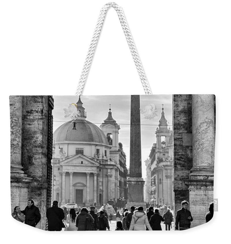 Piazza Weekender Tote Bag featuring the photograph Gate To Piazza Del Popolo In Rome by Sophie McAulay