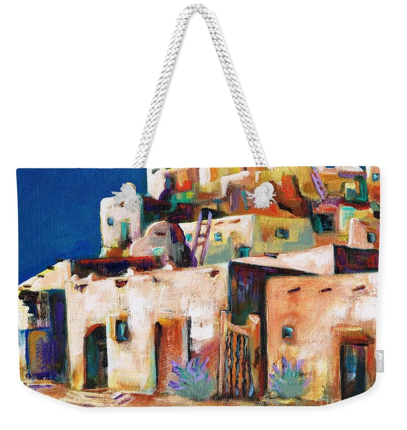 Adobe Weekender Tote Bag featuring the painting Gateway Into The Pueblo by Frances Marino