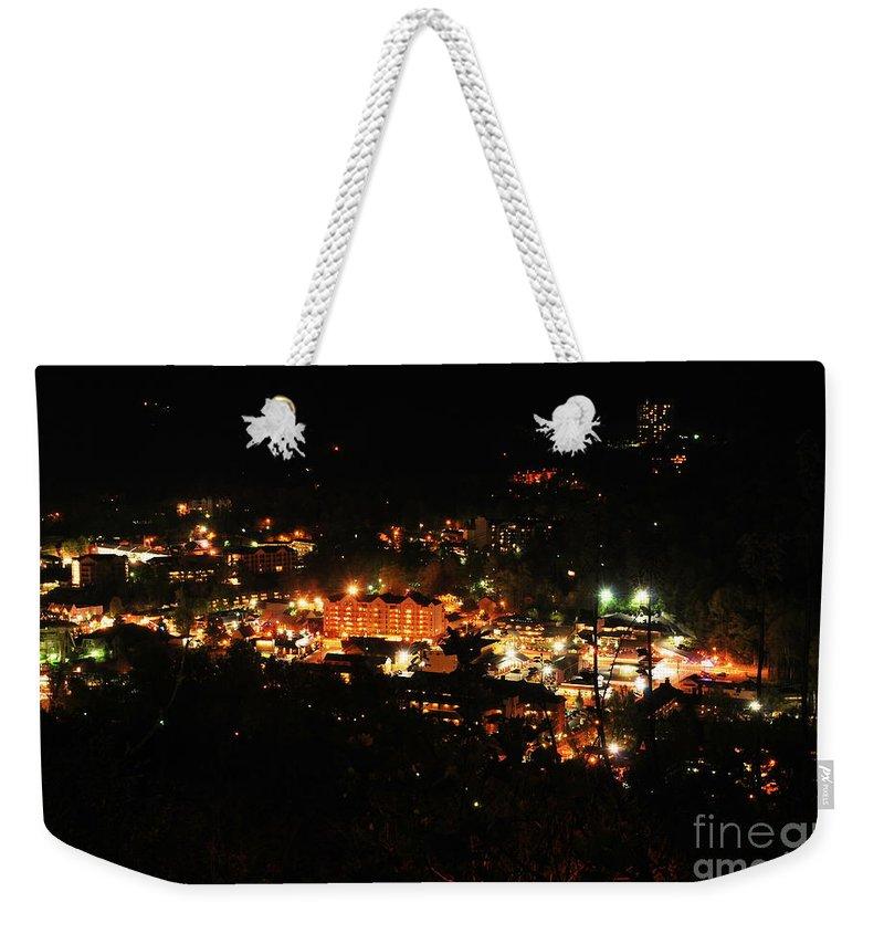Gatlinburg Weekender Tote Bag featuring the photograph Gatlinburg At Night by Nancy Mueller
