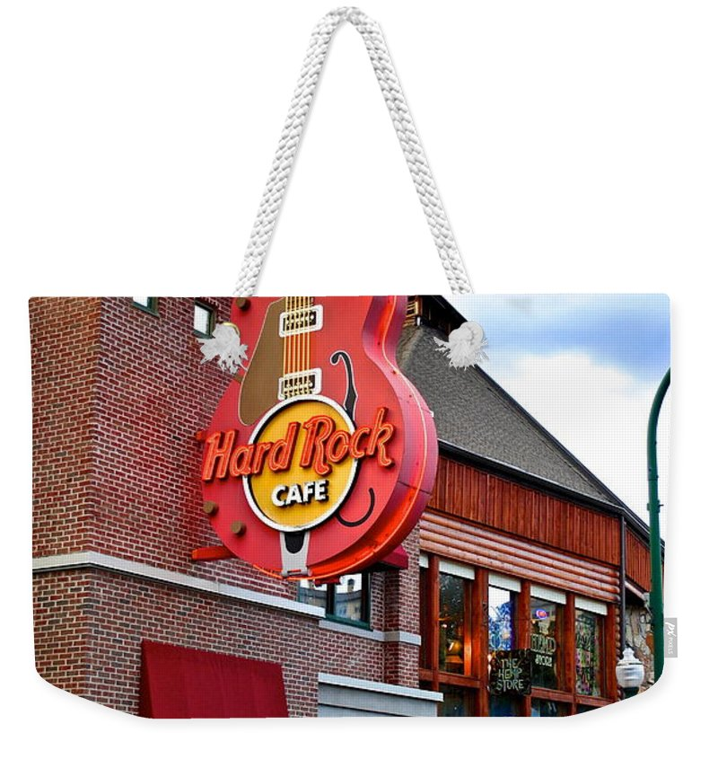 Hard Weekender Tote Bag featuring the photograph Gatlinburg Hard Rock Cafe by Frozen in Time Fine Art Photography