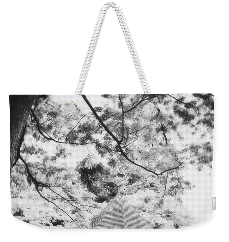 Photography Weekender Tote Bag featuring the photograph Gazebo In Monochrome by Ivy Ho
