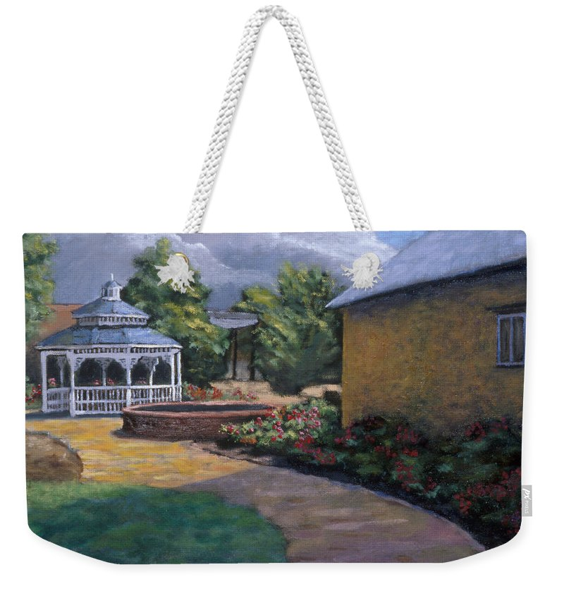 Potter Weekender Tote Bag featuring the painting Gazebo In Potter Nebraska by Jerry McElroy