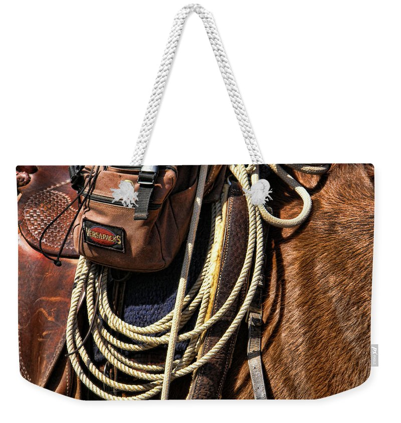 Horse Weekender Tote Bag featuring the photograph Gear by Shannon Story