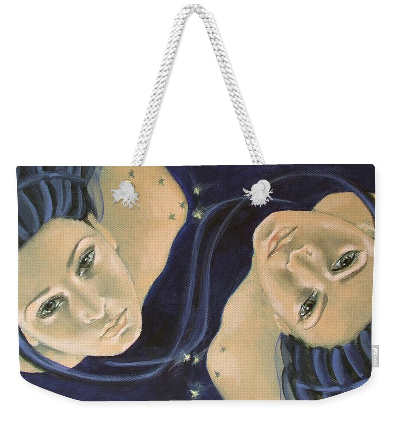 Constellation Weekender Tote Bag featuring the painting Gemini From Zodiac Series by Dorina Costras