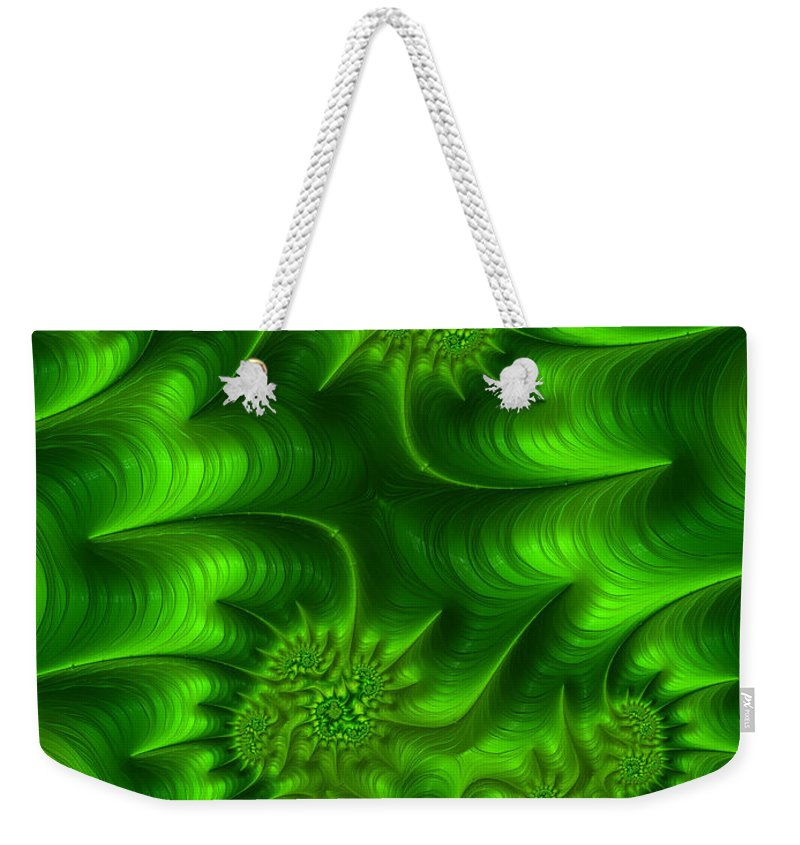 Green Abstract Weekender Tote Bag featuring the digital art Gemini In Green by John Edwards