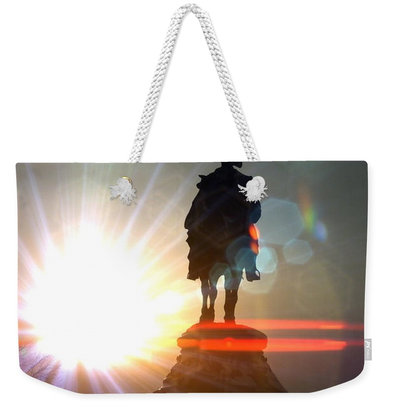 General Statue Weekender Tote Bag featuring the photograph General In Sunrise Flares by Alice Gipson