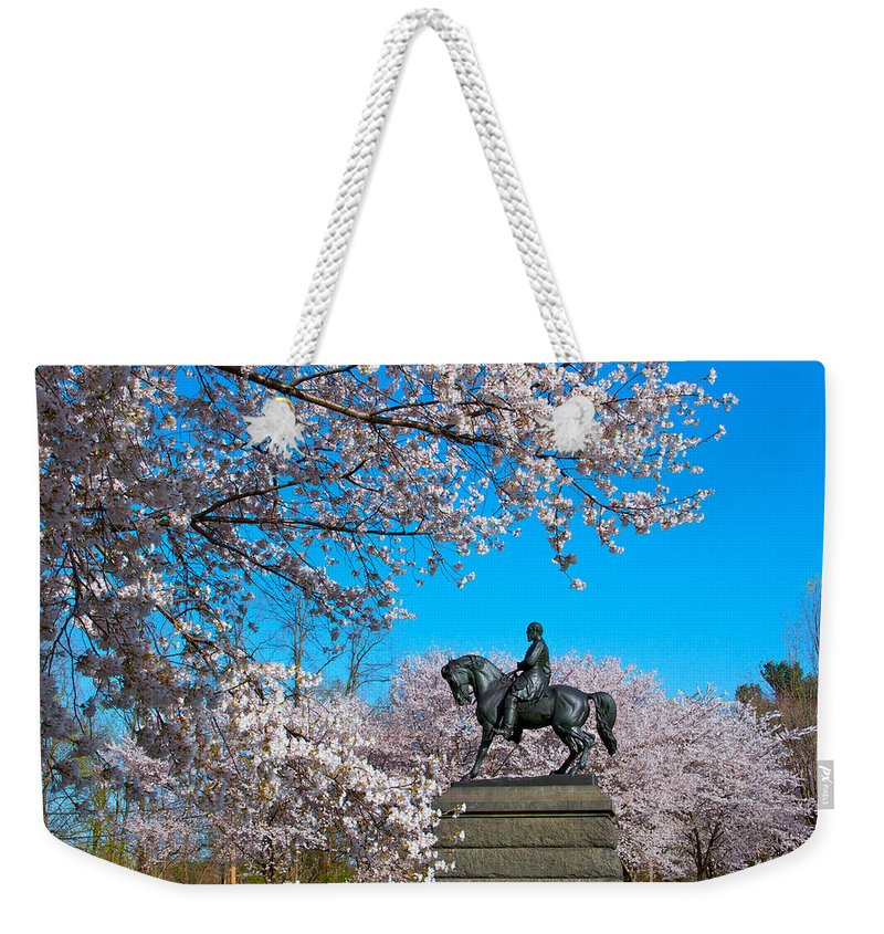 Cherry Blossoms Please Touch Museum Philadelphia Statue General Horse Weekender Tote Bag featuring the photograph General In The Cherry Blossoms by Alice Gipson