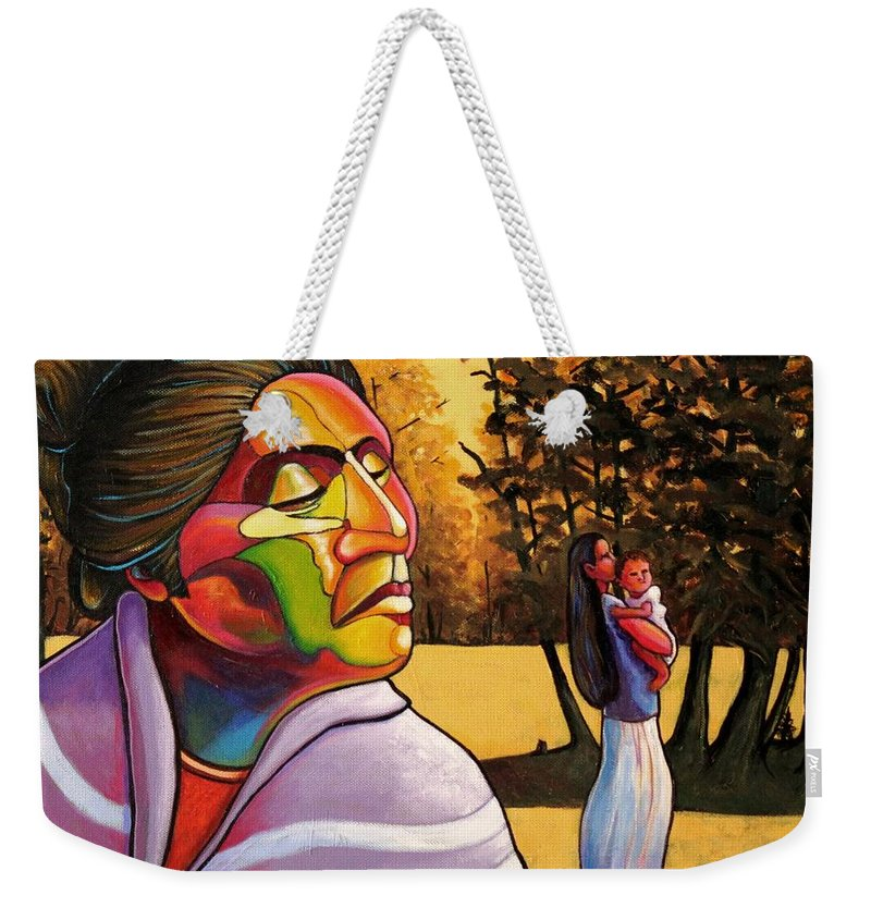Woman Weekender Tote Bag featuring the painting Generations by Joe Triano