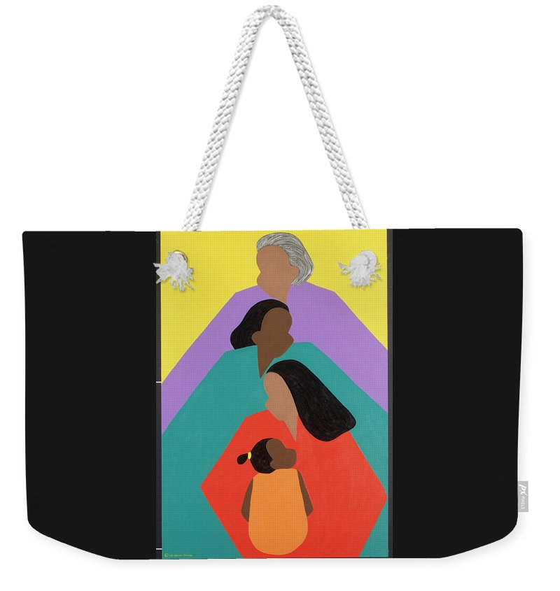 Commissioned Original Oil & Acrylic Weekender Tote Bag featuring the painting Generations by Synthia SAINT JAMES
