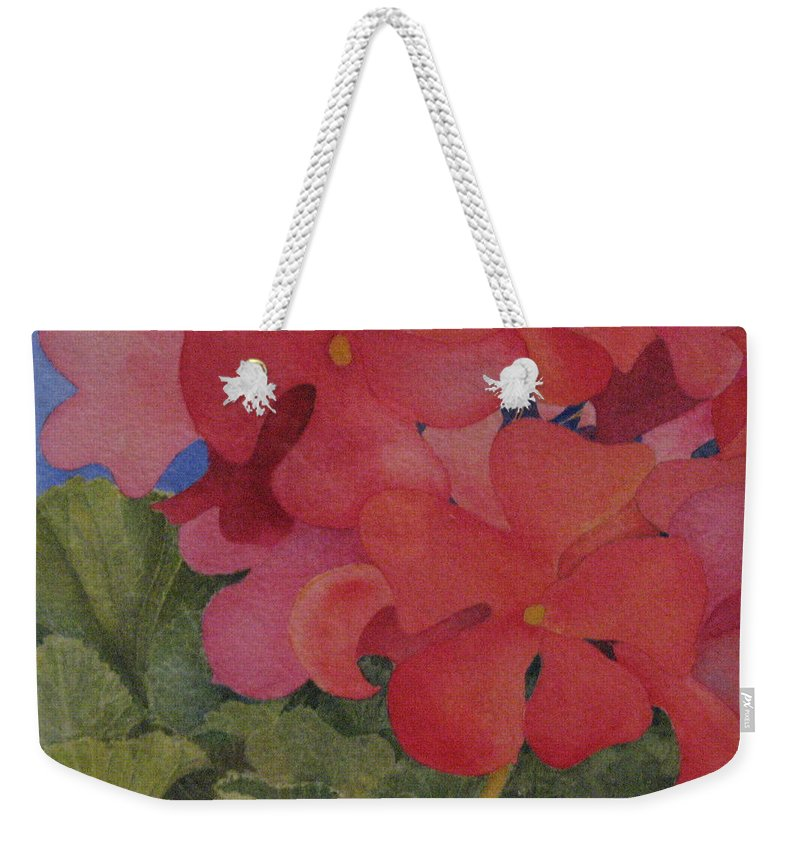 Florals Weekender Tote Bag featuring the painting Generium by Mary Ellen Mueller Legault