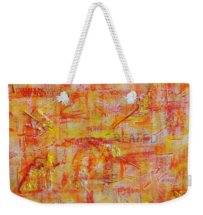 Leaves Weekender Tote Bag featuring the painting Genesis Chapter One Verse One by Mary Haas