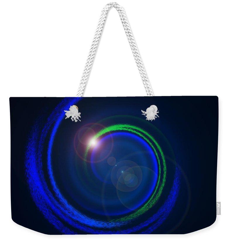 Abstract Weekender Tote Bag featuring the painting Genesis Digital Art by Georgeta Blanaru