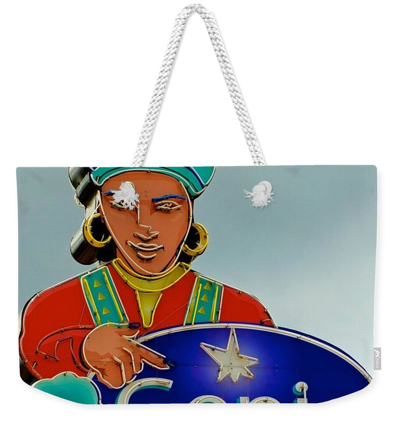 Genie Neon Sign Weekender Tote Bag featuring the photograph Genie Neon Sign by Kristina Deane