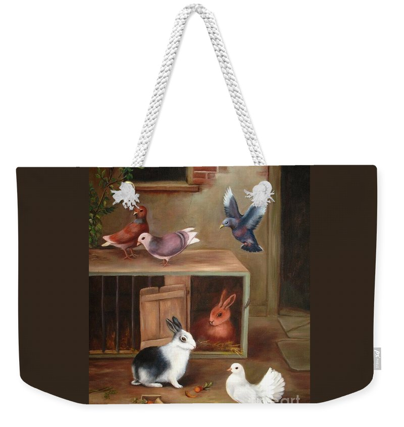 Four Doves Weekender Tote Bag featuring the painting Gentle Creatures by Hazel Holland