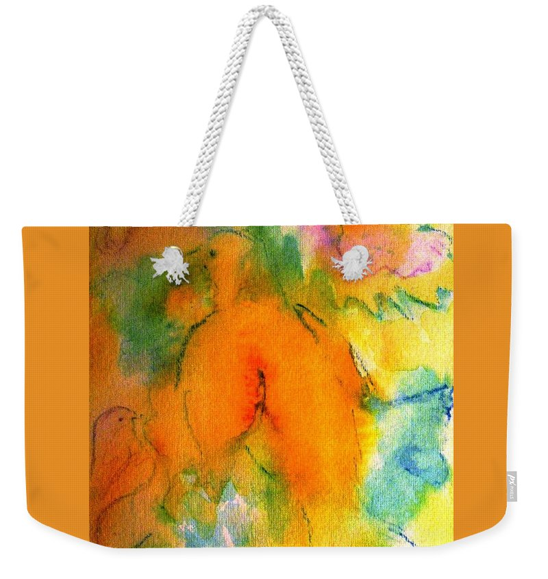 Doves Weekender Tote Bag featuring the painting Gentle Doves by Hazel Holland