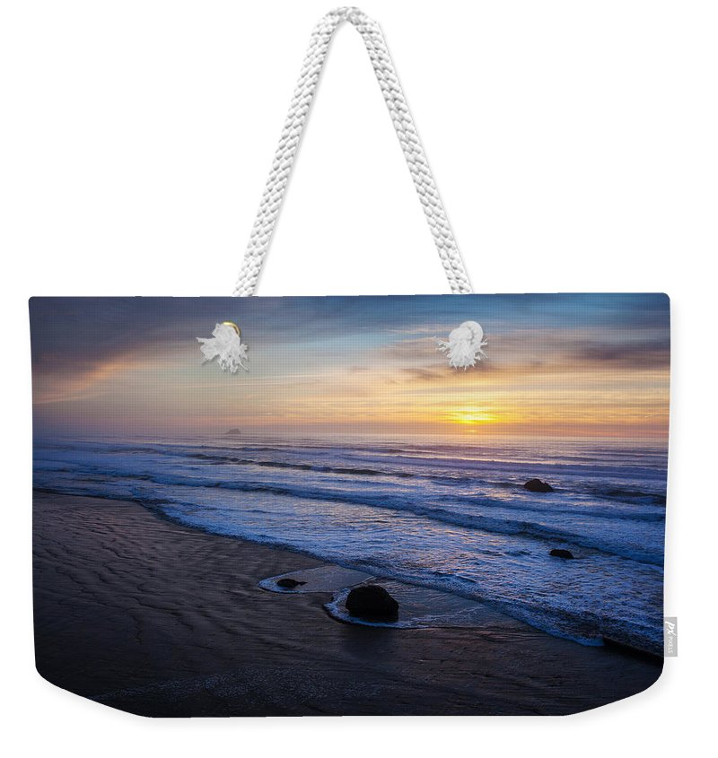 Hug Point Weekender Tote Bag featuring the photograph Gentle Evening Waves by Mike Reid
