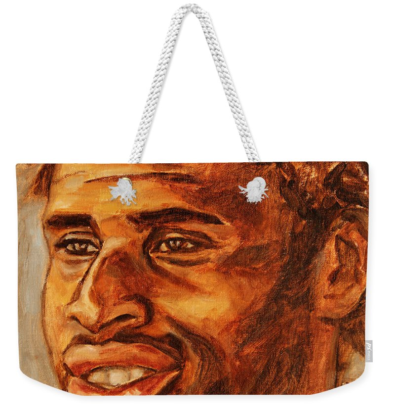 African Weekender Tote Bag featuring the painting Gentleman With Goatee by Xueling Zou