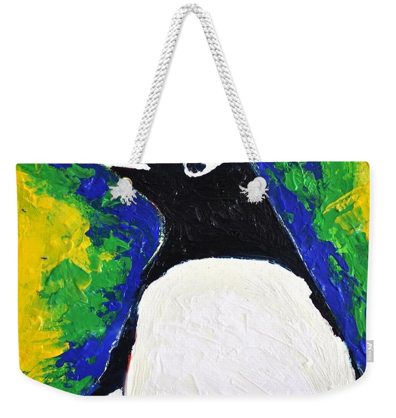 Penguin Weekender Tote Bag featuring the painting Gentoo Penguin by Heather Hancock